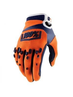 100% Airmatic Orange/Navy Gloves