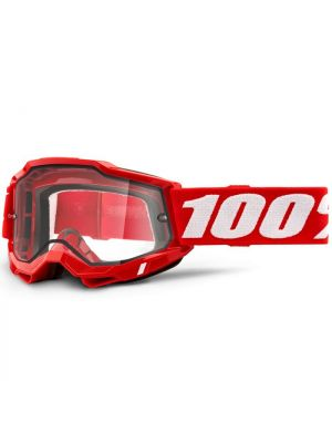 100% Accuri2 Enduro Moto Goggle Red Clear Lens