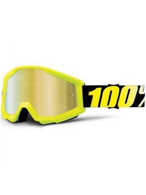 100% Strata Jnr Goggle Neon Yellow Mirror Gold Lens