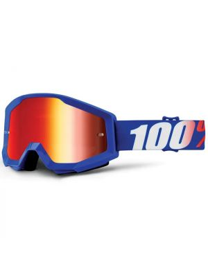 100% Strata Jnr Goggle Nation Mirror Blue Lens