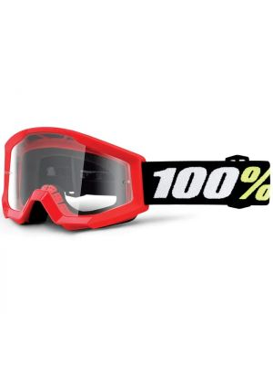 100% Strata Mini Goggle Red Clear Lens