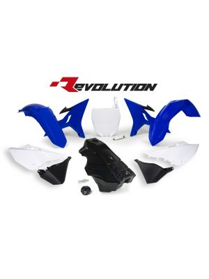 Rtech Revolution Yamaha OEM Plastic Kit with Black Gas Tank, Gas Cap & Front Plate Adapter