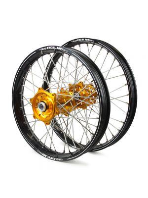 Talon / Excel A60 SNR MX Black Rims / Gold Hubs Wheel Set - Gas Gas