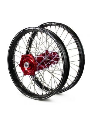 Talon / Excel A60 SNR MX Black Rims / Red Hubs Wheel Set - Gas Gas