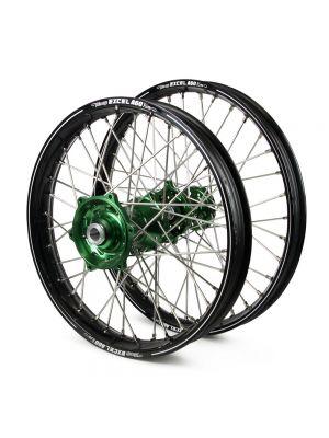 Talon / Excel A60 SNR MX Black Rims / Green Hubs Wheel Set - Kawasaki